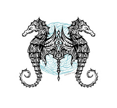 Tribal Seahorse Tattoo Design by Sherrie Thai of Shaireproductions (shaire productions) Tags: tribal tattoo tattooing inked art design creative sherriethai shaireproductions designer artist sfartist imagery picture image borneo style drawing ink pen animal underwater sea ocean marine creature photo blackwork blue wildlife wild water aquatic aquarium sealife polynesian oceanic hawaiian stylish marinelife pair seahorses dual duo abstract pattern swim swimming