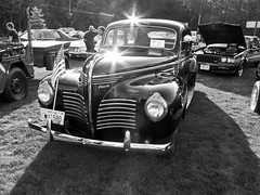 Proud 1940 Plymouth P10 (Boneil Photography) Tags: boneilphotography brendanoneil canon powershot g16 carshow pelham nh 6greenvillage 81017 plymouth bw blackandwhite sunburst 1940 p10