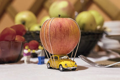 Oversize load (tomas.jezek) Tags: fruit vegetable kitchen dof toy car beetle apple tomato dinig table basket