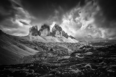 Drei Zinnen (Croosterpix) Tags: landscape nature mountains dolomiti dolomites alps blackwhite blackandwhite clouds sky rocks sony a7r nikkor1835