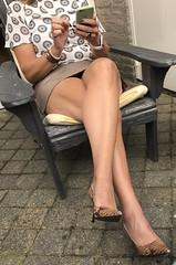 MyLeggyLady (MyLeggyLady) Tags: miniskirt teasing thighs hotwife secretary milf sexy leather minidress upskirt crossed pumps cfm stilettos legs heels