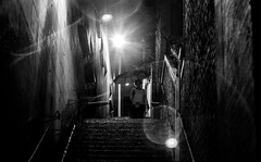DSCF8357 (::Lens a Lot::) Tags: ernst leitz wetzlar summar 5 cm f2 1935 | 6 blades aperture ltm mount paris 2017 white street photography vintage manual fixed prime lens german germany noir et blanc monochrome profondeur de champ bokeh depth field dof night light halo flare darkness rain umbrella