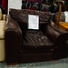 Brown leather arm-chair E60 ideal for rentals