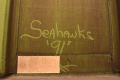 SEAHAWK (1991) (TheGraffitiHunters) Tags: graffiti graff street art freight train tracks benching benched moniker streak hopper seahawks 1991 91