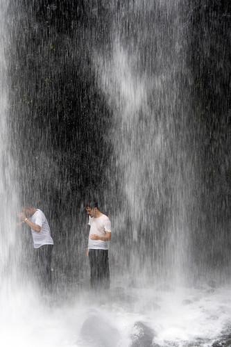 under  Sendang Gile waterfall