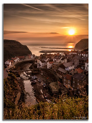 Staithes Sunrise. (peterwilson71) Tags: village sea sunrise boats houses water skys fishing harbour sun seashore canon6d