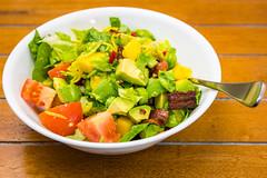 Bacon, mango and avocado salad (garydlum) Tags: belconnen birdseyechilli avocado lemonjuice celery streakybacon lettuce mango tomato baconfat lemonzest canberra bacon oliveoil