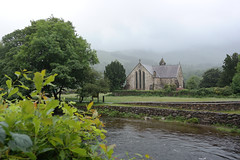St Mary's Church, Beddgelert, Wales (1241) (travelintime (trying to catch up)) Tags: beddgelert snowdonia wales scenery town church religion history travel unitedkingdom greatbritain samsung nx2000 weather gb tree sky river mountain