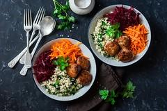 autumn lunch bowl... (sonja-ksu) Tags: food vegetables bulgur spinach beets carrots meatballs dinner autumn comfortfood foodphotography