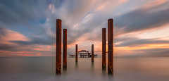 Silent Remains (billydorichards) Tags: westpier tranquil landscape nopeople wideangle pier water canon6d shore clouds longexposure abandoned beach ocean ruin serene sea coast sky seascape sunset canon1635mmf4l brighton waterblur england unitedkingdom gb