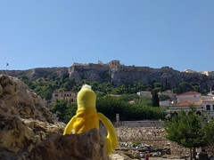 Swami viewing the Acropolis - Athens, Greece (ashabot) Tags: swami athens athensgreece parthenon acropolis travel seetheworld sky blue historicalsites unesco unescoworldheritagesites history skyabove yellow