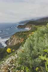 a distant bixby bridge by naaandrea - View looking north from Hurricane Vista Point in Big Sur.   Looking forward to whenever we can get back here on a clear day.