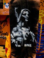 Nun with a Gun (Steve Taylor (Photography)) Tags: nunwithagun bnz bennaz panda bear piano nun gun machinegun art graffiti tag streetart stencil black blue orange white contrast woman lady uk gb england greatbritain unitedkingdom london rebellion