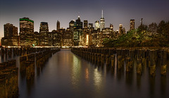 Hope Floats (Kathy Macpherson Baca) Tags: waterfront pier4 pilings manhattan worldtradecenter nightscape cityscape newyorkcity urban brooklyn world landscape scenic parks wideangle bluehour planet metropolitan nyc water river home night