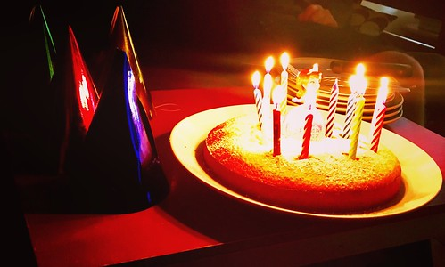 Birthday cake in the candle light