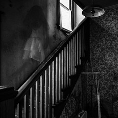 She Walks Down (Explored) (lancekingphoto) Tags: victorianhouse haunted ghost spooky scary haunting staircase blackandwhite fujifilmxe2 rokinon12mmf20ncscs oldnorthknoxville weddingdress veil dark horror brownladyofraynhamhall spirit