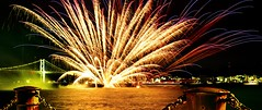 Fireworks Above the Rim (s.take-zak) Tags: fireworks above rim i wish we were in these together kanmon bridge japan