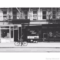 Rebel, Rebel (Harley Mitchell) Tags: rebelrebel nyc newyorkcity recordstore vinyl street streetphotography blackandwhite architecture