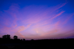 lovely end of the day ... (mariola aga) Tags: park meadow evening sky sunset twilight clouds pink blue purple trees grass silhouette