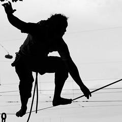 Merci le funambule pour ce magnifique spectacle sur le Rhône! (florenceurban) Tags: noiretblanc funambule câble equilibriste flickrclickx ef70300mm f456 is usmcanon usm