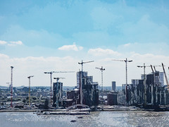 London Grows Bigger Every Day (Steve Taylor (Photography)) Tags: art digital architecture building construction blue monochrome monocolour monotone monocolor crane office water river uk gb england greatbritain unitedkingdom london texture thames