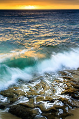 La Jolla Beach: Take Two (tltichy) Tags: childrenspool lajolla beach blue longexposure ocean orange pacific sandstone singhray socal summer sunset water waves westcoast