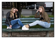 On a Park Bench (Doyle Wesley Walls) Tags: sb bb 0148 girls females women bench jeans denim park shanna britney doylewesleywalls