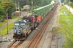 Q166 at New London (craigsanders429) Tags: stacktrains newlondonohio tracks railroadtracks canadianpacificlocomotives cpmotivepower cptrainsoncsx csxgreenwichsubdivision containertrains