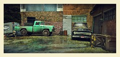 Working Fords (gpholtz) Tags: diorama miniatures 118 diecast 1958 1953 ford pickup truck