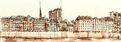 Notre-Dame (vue du Quai de l'Hotel de Ville) (C.PARR) Tags: art aquarelle urban sketch paris parrini panorama