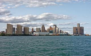 Detroit city Skyline as seen from Windsor, Ontario - Canada
