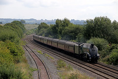 Streaking through Honeybourne (Andrew Edkins) Tags: lner a4class unionofsouthafrica 60009 cotswoldventurer railwayphotography railtour travel trip gresley geotagged canon honeybourne trees august summer 2017 charter sky clouds worcestershire uksteam