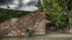 J'aime toujours l'orage... et les vélos aussi ! (Fred&rique) Tags: lumixfz1000 photoshop hdr raw bicyclettes mur remparts ulm badenwürttemberg lierre escalier orage pluie