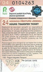 Prague 24 Hours Transfer Ticket, 2004 (Ray's Photo Collection) Tags: scan scanned document czech republic bus buses travel ticket praha prague transfer 2004