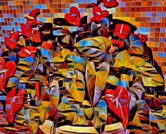 Anthuriums (♣Cleide@.♣) Tags: © ♣cleide♣ brazil 2017 ps6 photo art digital texture foliage anthuriums artdigital exotic netartii atree sotn