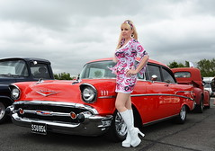 Jackie_5584 (Fast an' Bulbous) Tags: girl woman hot sexy pinup model blonde hair boots psychadelic dress legs car vehicle automobile custom hotrod classic oldtimer santapod dragstalgia showshine people outdoor mature milf