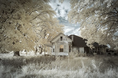 Abandoned Home Infrared (Notley Hawkins) Tags: httpwwwnotleyhawkinscom notleyhawkinsphotography notley notleyhawkins 10thavenue home house abandoned clouds sky rural prairiehomemissouri coopercountymissouri 2017 september ir infrared