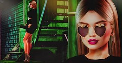 ♚ 411 ♚ (Luxury Dolls) Tags: blog blogger flickr post style fashion store sexy black green bento maitreya kennyrolands kr event cosmopolitan minimal glasses heart gold tableauvivant tableauvivantsl hair tp7 theprojectse7en lelutka boots essenz salem taikou backdrop backgrounds