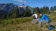 waiting for sunset above Indian Bar (Dan Nevill) Tags: wonderland rainier wonderlandtrail mtrainier mountrainier nationalpark backpacking camping trail wilderness alex kieth hiking wildflowers washington pacificnorthwest pnw