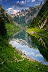 The lonely fisherman (michaelreubi) Tags: morning mountain mountains mountainlake alps appenzell appenzellerland alpstein alpen alpine lake lakefälen fälensee bollenwees switzerland schweiz sun sky ostschweiz