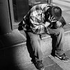 miserere (mitchell haindfield) Tags: streetphotography street troubled anguish pain misery monochrome sidewalk crying sobbing sorrow grief emotional outcast homeless poverty needy desperate victim suffering man male ethnic tired weary down sad heartbroken downtown urban westlakecenter