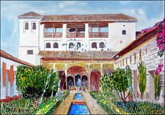 Generalife (Dr Graham Beards) Tags: patiodelaacequia andalucia alhambra architecture fountain generalife watercolor watercolour spain