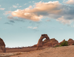 Popular Place - Explore (Ron Drew) Tags: nikon d800 archesnationalpark nationalpark moabutah delicatearch arch desert utah moab sunset tourists usa summer clouds