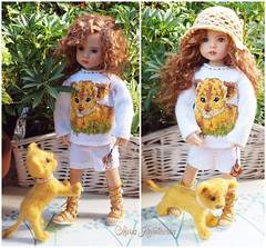 Lion cub Outfit (Maria Kłopotowska) Tags: lion sweater intarsia shoes doll littledarling effner handmade hand knit sandals crochet outfit safari