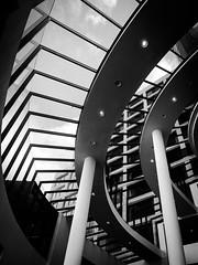The binary system (doubleshotblog) Tags: building urban lines curves glass hall indoor architecture hobartcbd tasmania hobart abstract blackandwhite binarysystem
