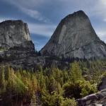 Mountain Peaks Seen Between Vernal Fall and Nevada Fall (Yosemite National Park) thumbnail