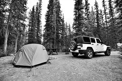 JRJ_7121 (jjay69) Tags: canada canada150 canadian holiday vacation trip travel roadtrip travelling northamerica northernhemisphere rockies therockies rockymountains mountainrange mountainous jeep jeepwrangler 4x4 offroad offroadvehicle whitecar camp campsite camping outdoor tent livingoutdoors tents tenting smalltent alberta vango banshee300 bansheetent vangotent greentent shelter rest cover ecocamping ecocampsite conifers conifferous forest forrest wood woods woodland evergreen coniferous pinetrees pine coniferouswood firtrees firtree cypress douglas redwood spruce yew rampartcreek ramparkcreekcampground banffnationalpark bw blackandwhite black whitebwmonochromeno colour