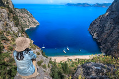 Butterfly Valley, Faralya, Fethiye, Muğla, Turkey (Feng Wei Photography) Tags: traveldestinations fethyie landscape landmark eastasia mediterraneansea euroasia turkeymiddleeast female famousplace coastline oludeniz bayofwater travel uzunyurt alone lycianway outdoors relaxed horizontal lycia muglaprovince hike highangleview scenics remote colorimage secluded gettingawayfromitall cliff sea vacation beach ölüdeniz ship awe beautyinnature outdoorpursuit paradise mediterraneanturkey tourist turquoisecolored highup turkishculture tourism turquoisecoast turkish