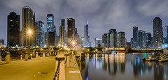 Piering at the city (tquist24) Tags: chicago hdr illinois lakemichigan nikon nikond5300 outdoor trumptower city cityscape clouds downtown geotagged lake lights longexposure night panorama panoramic pier reflection reflections sky skyscrapers water unitedstates