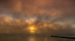 Morning fog...... (Kevin Povenz Thanks for all the views and comments) Tags: 2017 september kevinpovenz michigan eastjordan upnorth sunrise sun early earlymorning fog beach dock lake water reflection canon7dmarkii